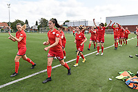 players of Zulte Waregem during the warming up pictured during a female soccer game between SV Zulte - Waregem and KRC Genk on the second matchday of the 2021 - 2022 season of Belgian Scooore Womens Super League , saturday 28 of August 2021  in Zulte , Belgium . PHOTO SPORTPIX   DIRK VUYLSTEKE