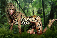 Beautiful young blond Leopard woman