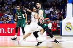 Zalgiris' Brandon Davies, Real Madrid's Facundo Campazzo and Zalgiris' Leo Westermann during Euroligue match between Real Madrid and Zalgiris Kaunas at Wizink Center in Madrid, Spain. April 4, 2019.  (ALTERPHOTOS/Alconada)