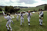 Morris dancers Whitchurch. Buckinghamshire  England man playing Penny Whistle. 1990s.