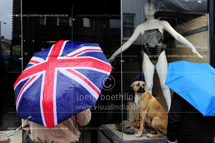 GREAT BRITAIN, London, dog in shop window in Lower Marsh / GROSSBRITANNIEN, London, Hund im Schaufenster
