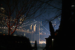 "NEW YORK - JANUARY 23, 2007:   The Brooklyn Bridge is lit up during the filming of ""I Am Legend"" on January 23, 2007 in New York City.  The movie stars Will Smith.  (PHOTOGRAPH BY MICHAEL NAGLE)"