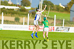 Tralee Parnells Jack Savage gains possession over Lixnaws Jamie Fitzgerald in the U16 Hurling plate final.