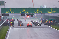 29th August 2021; Spa Francorchamps, Stavelot, Belgium: FIA F1 Grand Prix of Belgium,  race day: Starting grid on a very wet day during the Formula 1 Belgium Grand Prix,