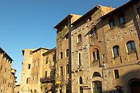 Medieval houses around Plazza Cisterna - San Gimignano - Italy
