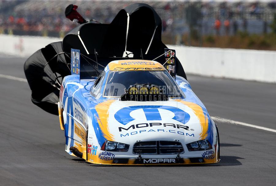Mar 15, 2014; Gainesville, FL, USA; NHRA funny car driver Matt Hagan during qualifying for the Gatornationals at Gainesville Raceway Mandatory Credit: Mark J. Rebilas-USA TODAY Sports