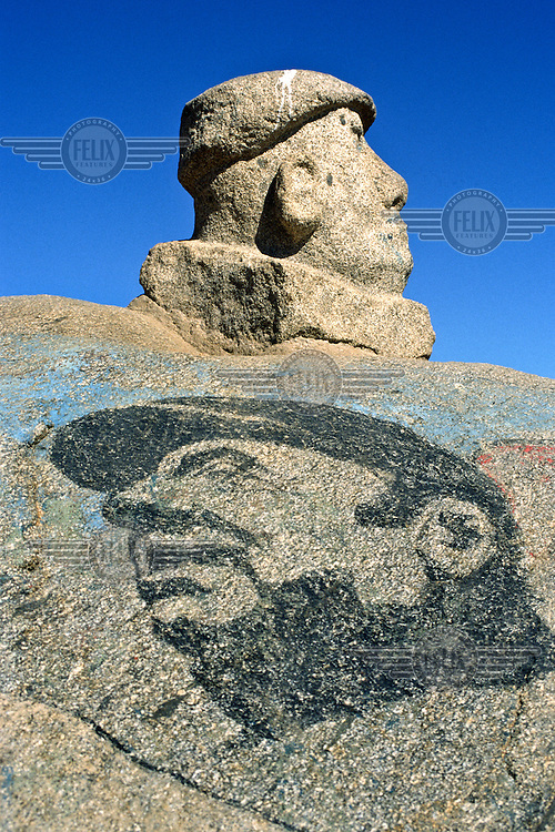 A statue, and drawing, of the poet Pablo Neruda near his former home.