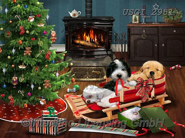 GIORDANO, CHRISTMAS ANIMALS, WEIHNACHTEN TIERE, NAVIDAD ANIMALES, paintings+++++,USGI2951,#xa# ,dog,dogs