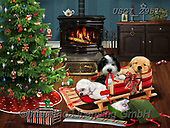 GIORDANO, CHRISTMAS ANIMALS, WEIHNACHTEN TIERE, NAVIDAD ANIMALES, paintings+++++,USGI2951,#xa# ,dog,dogs