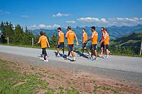 "Austria, Kitzbuhel, Juli 15, 2015, Tennis, Davis Cup, Dutch team on top of the ""Hahnenkam""  <br /> Photo: Tennisimages/Henk Koster"