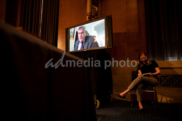 """United States Senator Bill Cassidy (Republican of Louisiana), speaks through teleconference as <br /> the US Senate Health, Education, Labor, and Pensions Committee holds a hearing titled """"COVID-19: Going Back to School Safely"""" on Capitol Hill in Washington, DC on Thursday, June 4, 2020.<br /> Credit: Ting Shen / CNP/AdMedia"""
