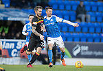 St Johnstone v Partick Thistle…27.01.18…  McDiarmid Park…  SPFL<br />Chris Millar and Martin Woods<br />Picture by Graeme Hart. <br />Copyright Perthshire Picture Agency<br />Tel: 01738 623350  Mobile: 07990 594431