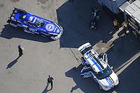 Apr. 28, 2012; Baytown, TX, USA: Aerial view of NHRA funny car driver Robert Hight during qualifying for the Spring Nationals at Royal Purple Raceway. Mandatory Credit: Mark J. Rebilas-