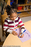 Preschool 4-5 year olds art activity girl sitting at table drawing with marker recognizable shapes human figures vertical