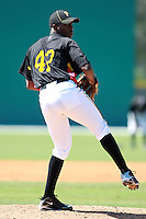 Pittsburgh Pirates minor league pitcher Joely Rodriguez (47) vs. the Philadelphia Phillies in an Instructional League game at Pirate City in Bradenton, Florida;  October 6, 2010.  Photo By Mike Janes/Four Seam Images