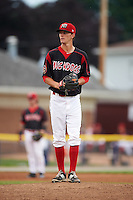 Batavia Muckdogs pitcher Scott Squier (31) gets ready to deliver a pitch during a game against the Mahoning Valley Scrappers on June 22, 2015 at Dwyer Stadium in Batavia, New York.  Mahoning Valley defeated Batavia 15-11.  (Mike Janes/Four Seam Images)