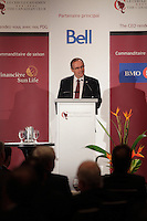 October 14, 2012 - Montreal, Quebec , Canada - Mr. Denis Richard, President of La Coop federee at the Canadian Club of Montreal's podium.   Speech title: Cooperation, a sustainable solution to today's challenges