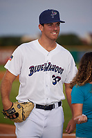 Pensacola Blue Wahoos Bryan Sammons (37) before a Southern League game against the Mobile BayBears on July 25, 2019 at Blue Wahoos Stadium in Pensacola, Florida.  Pensacola defeated Mobile 3-2 in the second game of a doubleheader.  (Mike Janes/Four Seam Images)