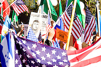 People gather at Union Square for the main rally for protesters of United States immigration policy in New York City on May 1, 2006, which was followed by an en masse march down Broadway towards City Hall.