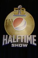 Logo der Halftime Show - Super Bowl 50 Halbzeitshow PK, Moscone Center San Francisco