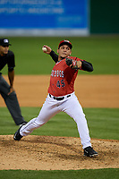 Batavia Muckdogs relief pitcher Raul Brito (45) during a NY-Penn League game against the Auburn Doubledays on June 14, 2019 at Dwyer Stadium in Batavia, New York.  Batavia defeated 2-0.  (Mike Janes/Four Seam Images)