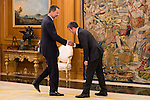 King Felipe VI of Spain and the President of the Government of Canarias, Fernando Clavijo Batlle during Royal Audience at Zarzuela Palace in Madrid, July 28, 2015. <br /> (ALTERPHOTOS/BorjaB.Hojas)