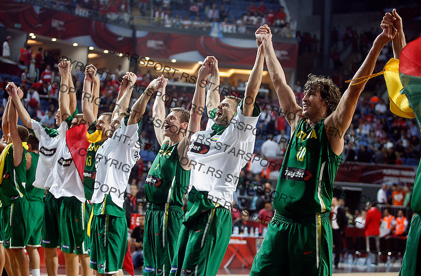 Lithuania players celebrates after victory over Serbia, 3rd Place World championship basketball match in Istanbul, Serbia-Lithuania, Turkey on Sunday, Sep. 12, 2010. (Novak Djurovic/Starsportphoto.com) .