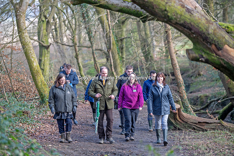 Lesley Griffiths AM, Minister for Enviroment, Energy and Rural Affairs walks through Gnoll Park woods at  the National Forest launch during the Woodland Trust event high on the mountainside above Neath in South Wales this morning at the newly planted Coed Cadw woodland<br /> Re: National Forest launch at the Woodland Trust event high on the mountainside above Neath in South Wales this morning at the newly planted Coed Cadw woodland.