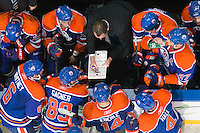 EDMONTON, AB - DECEMBER 12:  Steve Smith, assistant coach for the Edmonton Oilers, draws out a play during a game against the Vancouver Canucks at Rexall Place on December 12, 2010 in Edmonton, Alberta, Canada. (Photo by Andy Devlin/NHLI via Getty Images) *** LOCAL CAPTION *** Steve Smith