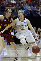 BERKELEY, CA - MARCH 30: Lindy La Rocque drives through traffic during Stanford's 74-53 win against the Iowa State Cyclones on March 30, 2009 at Haas Pavilion in Berkeley, California.