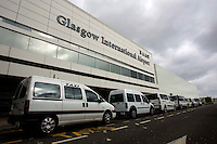 Taxi rank out side Glasgow Internationl Airport after the.ban on flights to and from Scottish airports has been reinstated over fears of the danger to aircraft from a cloud of volcanic ash..All non-emergency air traffic was grounded on Thursday because of the eruption in Iceland..Restrictions were lifted in Scotland as the cloud moved south on Friday..But air traffic control body Nats has restricted UK airspace until at least 0100 BST on Sunday. A small number of Scottish domestic flights may take off. .17 April 2010 Picture: Universal News And Sport (Europe)...