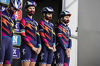 Team Canyon-SRAM pre race team presentation Alexis Ryan (USA/Canyon-SRAM Racing), Tiffany Cromwell (AUS/Canyon SRAM Racing) and Elena Cecchini (ITA/Canyon-SRAM Racing)<br /> <br /> <br /> 17th Ronde van Vlaanderen 2020<br /> Elite Womens Race (1.WWT)<br /> <br /> One Day Race from Oudenaarde to Oudenaarde 136km<br /> <br /> ©kramon