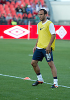 03 June 2012: US Men's National Soccer Team forward Landon Donovan #10 in action during the warm-up in an international friendly  match between the United States Men's National Soccer Team and the Canadian Men's National Soccer Team at BMO Field in Toronto..The game ended in 0-0 draw..
