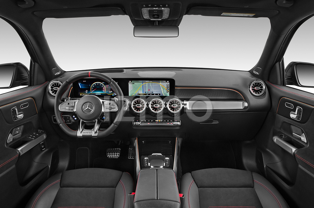 Stock photo of straight dashboard view of 2021 Mercedes Benz GLB AMG-35 5 Door SUV Dashboard