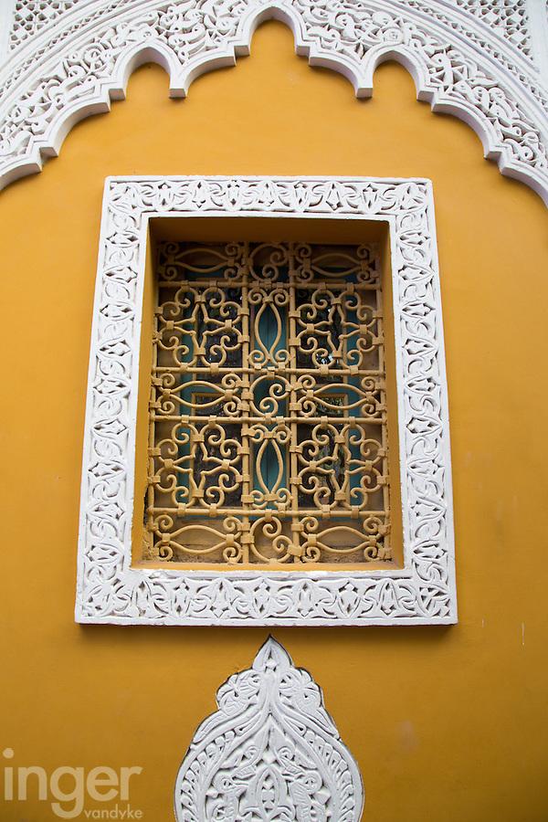 Lattice window inside the Majorelle Garden, Marrakech, Morocco
