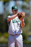 Slippery Rock pitcher Garret Peterson (13) during a game against the Wayne State Warriors on March 15, 2013 at Chain of Lakes Park in Winter Haven, Florida.  (Mike Janes/Four Seam Images)