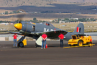 """Hawker Sea Fury """"Argounaut"""" doing an engine run up during the 2011 Reno National Championship Air Races."""