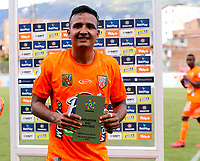 ENVIGADO - COLOMBIA, 27–03-2021: Ivan Rojas de Envigado F. C. es el jugador del partido entre Envigado F. C. y Deportes Tolima de la fecha 15 por la Liga BetPlay DIMAYOR I 2021, en el estadio Polideportivo Sur de la ciudad de Envigado. / Ivan Rojas of Envigado F. C. is the player of the match between Envigado F. C. and Deportes Tolima of 15th date for the BetPlay DIMAYOR I 2021 League at the Polideportivo Sur stadium in Envigado city. Photo: VizzorImage / Donaldo Zuluaga / Cont.