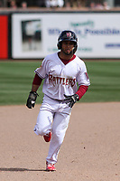Wisconsin Timber Rattlers second baseman Felix Valerio (2) races to third base during a game against the Cedar Rapids Kernels on September 8, 2021 at Neuroscience Group Field at Fox Cities Stadium in Grand Chute, Wisconsin.  (Brad Krause/Four Seam Images)