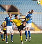 Alashkert FC v St Johnstone...02.07.15   Republican Stadium, Yerevan, Armenia....UEFA Europa League Qualifier.<br /> Murray Davidson and Gevorg Poghosyan<br /> Picture by Graeme Hart.<br /> Copyright Perthshire Picture Agency<br /> Tel: 01738 623350  Mobile: 07990 594431