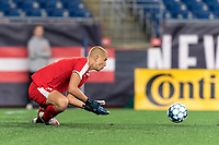 FOXBOROUGH, MA - SEPTEMBER 1: Wallis Lapsley #1 of FC Tucson makes a save during a game between FC Tucson and New England Revolution II at Gillette Stadium on September 1, 2021 in Foxborough, Massachusetts.