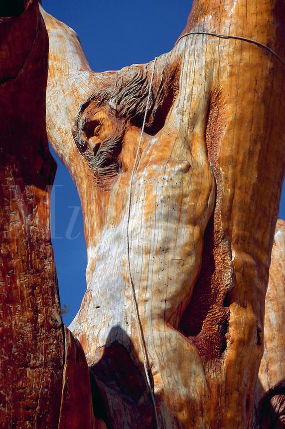 Christ figure carved in a Cedar Tree, The Cedars, Lebanon