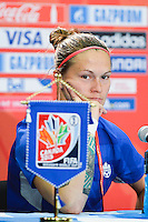 Canada's Erin McLeod  media during press conference on the eve of Women's World Cup Soccer match, Thursday June 04, 2015 in Edmonton, Alberta. (Mo Khursheed/TFV Media via AP Images)