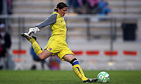 Sky Blue's Jenny Branam (23) takes a free kick against the Chicago Red Stars.  Sky Blue defeated the Chicago Red Stars 1-0 in a mid-week game, Wednesday, June 17, at Yurcak Field.