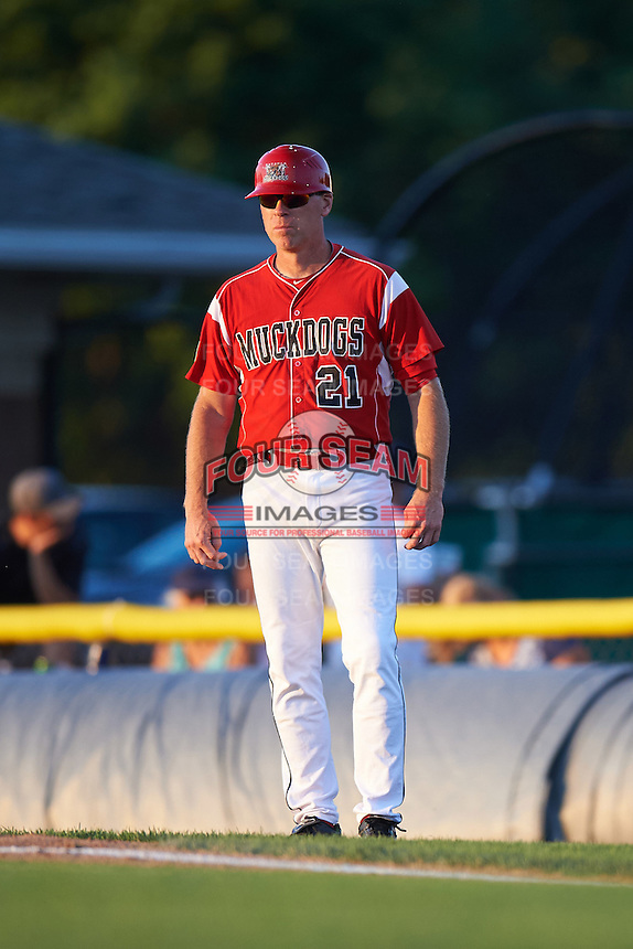 Batavia Muckdogs coach Thomas Gamba (21) during a game against the Aberdeen Ironbirds on July 14, 2016 at Dwyer Stadium in Batavia, New York.  Aberdeen defeated Batavia 8-2. (Mike Janes/Four Seam Images)