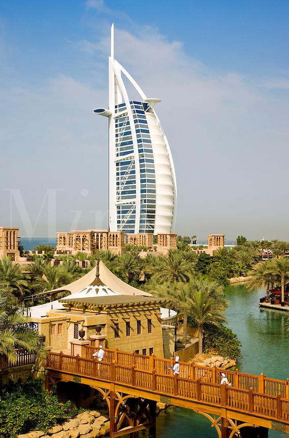 Dubai.  Burj al Arab Hotel, Al Qasr Hotel and Mina A'Salam Hotel at the Madinat Jumeirah.  Chefs on bridge. .