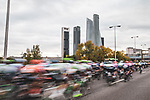 The peloton approach Madrid during Stage 18 of the Vuelta Espana 2020, running 139.6km from Hipódromo de La Zarzuela to Madrid, Spain. 8th November 2020.  <br /> Picture: Unipublic/Charly Lopez | Cyclefile<br /> <br /> All photos usage must carry mandatory copyright credit (© Cyclefile | Unipublic/Charly Lopez)