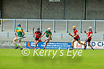 Barry O'Mahony, Kerry in action against Daithi Sands, Down during the National hurling league between Kerry v Down at Austin Stack Park, Tralee on Sunday.
