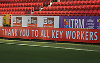 An advertising board thanking key workers during Charlton Athletic vs Plymouth Argyle, Emirates FA Cup Football at The Valley on 7th November 2020