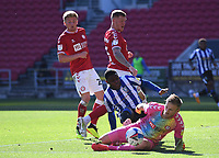 27th September 2020; Ashton Gate Stadium, Bristol, England; English Football League Championship Football, Bristol City versus Sheffield Wednesday;  Daniel Bentley of Bristol City makes a save under pressure  from Fisayo Dele-Bashiru of Sheffield Wednesday